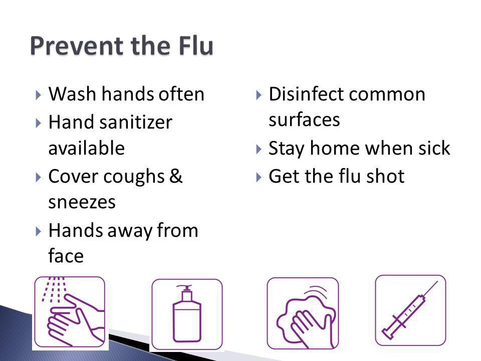 Wash hands often Hand sanitizer available Cover coughs & sneezes Hands away from face Disinfect common surfaces Stay home when sick Get the flu shot
