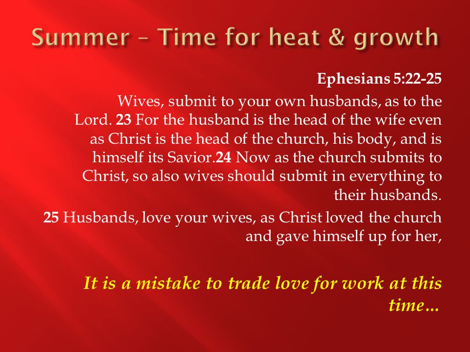 Ephesians 5:22-25 Wives, submit to your own husbands, as to the Lord.