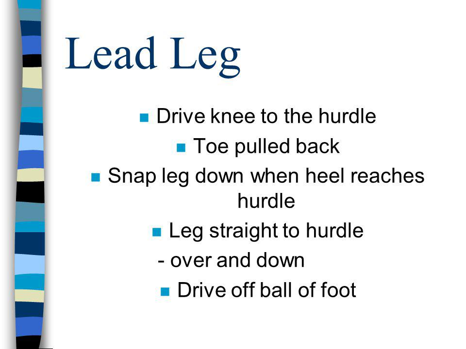Lead Leg n Drive knee to the hurdle n Toe pulled back n Snap leg down when heel reaches hurdle n Leg straight to hurdle - over and down n Drive off ba
