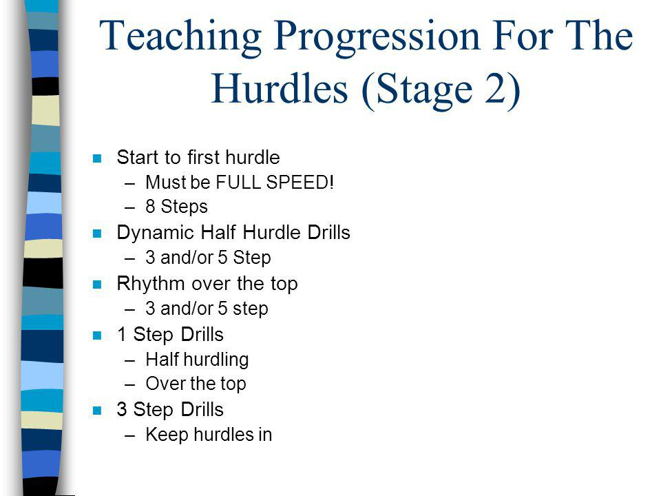 Teaching Progression For The Hurdles (Stage 2) n Start to first hurdle –Must be FULL SPEED! –8 Steps n Dynamic Half Hurdle Drills –3 and/or 5 Step n R