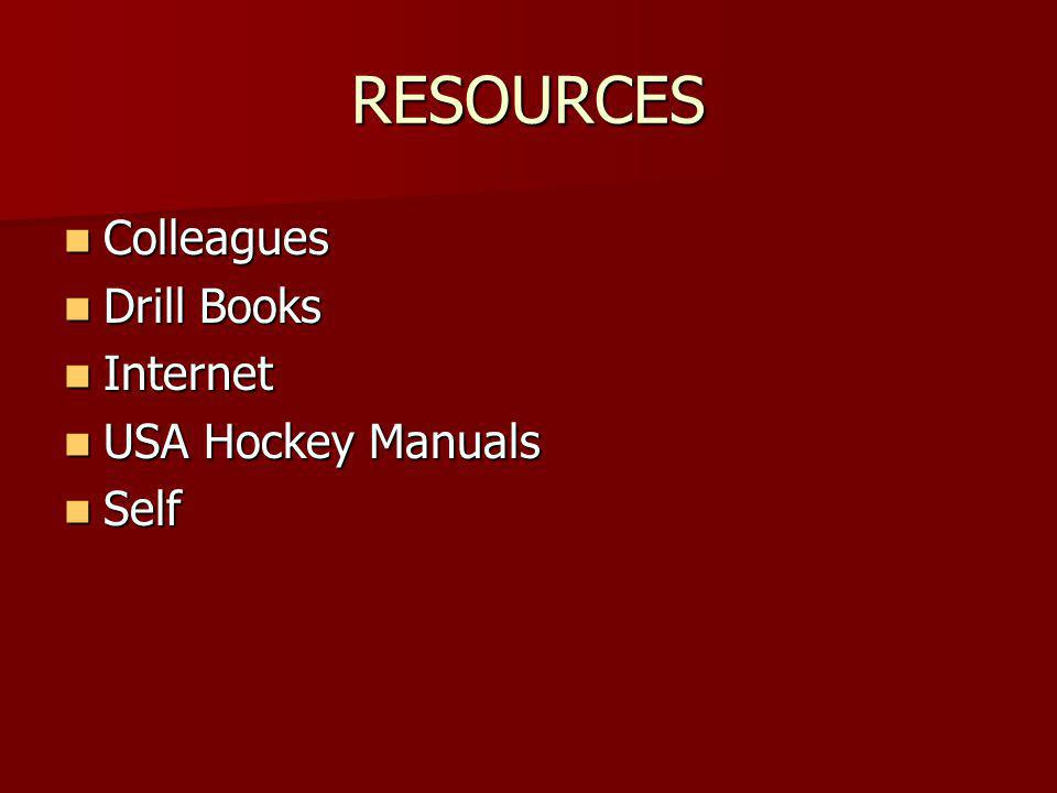 RESOURCES Colleagues Colleagues Drill Books Drill Books Internet Internet USA Hockey Manuals USA Hockey Manuals Self Self