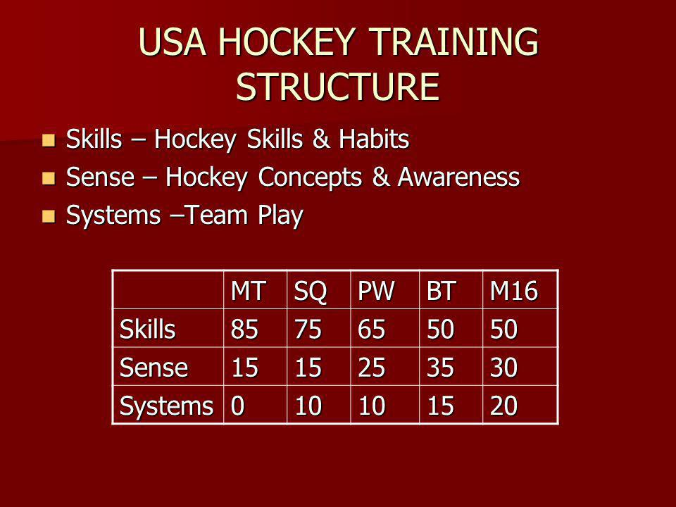USA HOCKEY TRAINING STRUCTURE Skills – Hockey Skills & Habits Skills – Hockey Skills & Habits Sense – Hockey Concepts & Awareness Sense – Hockey Concepts & Awareness Systems –Team Play Systems –Team Play MT SQPWBTM16 Skills8575655050 Sense1515253530 Systems010101520