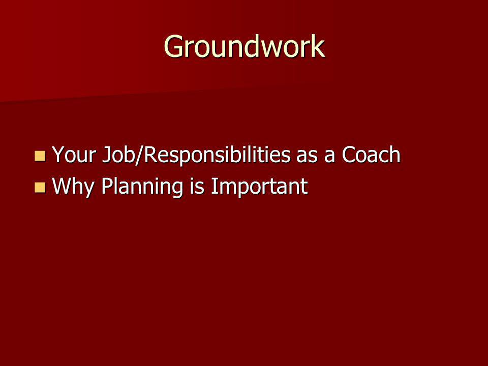Groundwork Your Job/Responsibilities as a Coach Your Job/Responsibilities as a Coach Why Planning is Important Why Planning is Important