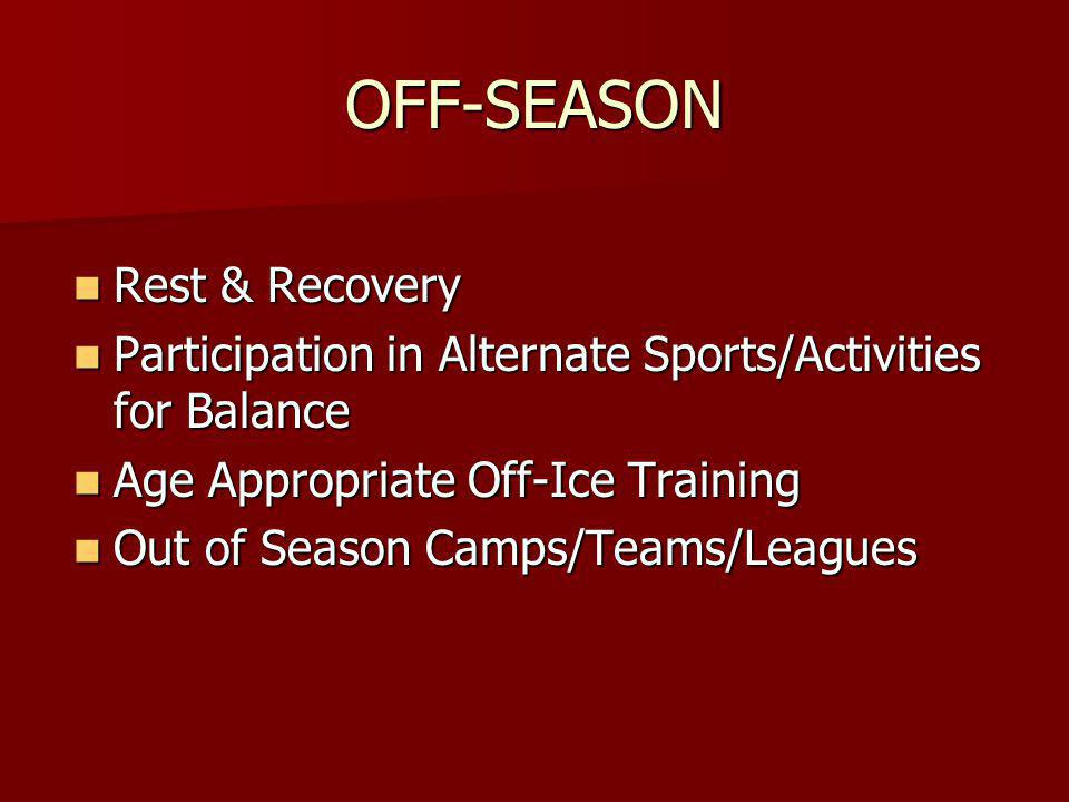 OFF-SEASON Rest & Recovery Rest & Recovery Participation in Alternate Sports/Activities for Balance Participation in Alternate Sports/Activities for Balance Age Appropriate Off-Ice Training Age Appropriate Off-Ice Training Out of Season Camps/Teams/Leagues Out of Season Camps/Teams/Leagues