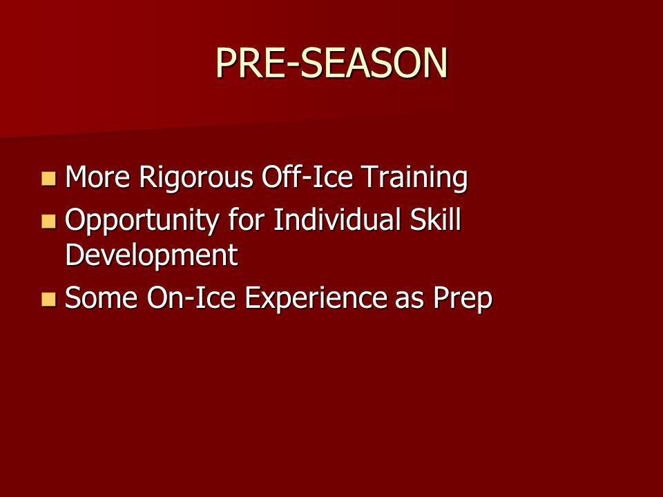 PRE-SEASON More Rigorous Off-Ice Training More Rigorous Off-Ice Training Opportunity for Individual Skill Development Opportunity for Individual Skill Development Some On-Ice Experience as Prep Some On-Ice Experience as Prep