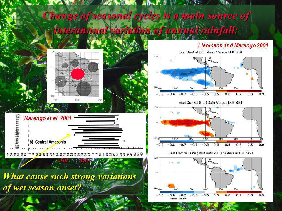 What control the changes of rainfall and wet season onset in the western Amazon.