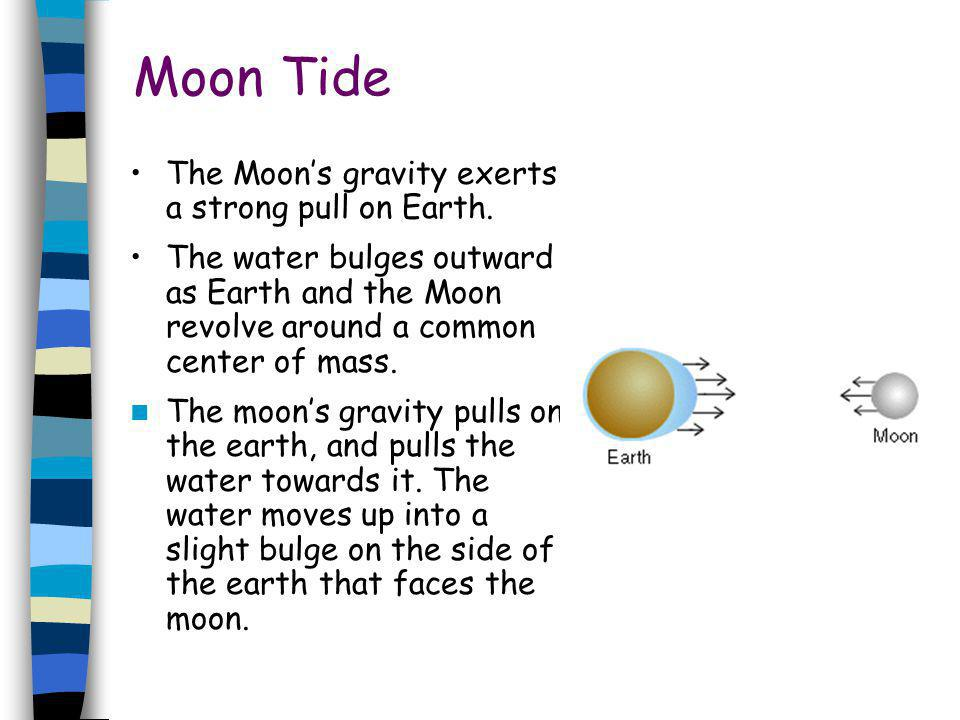 Moon Tide The Moons gravity exerts a strong pull on Earth. The water bulges outward as Earth and the Moon revolve around a common center of mass. The