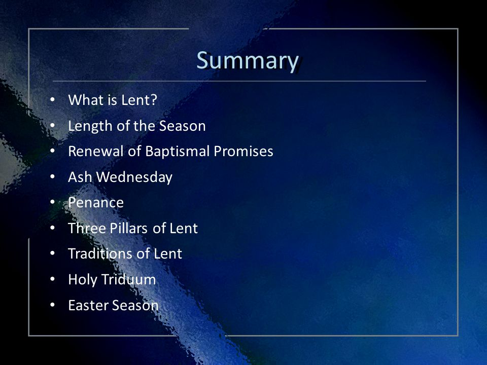 Click Title Summary What is Lent.