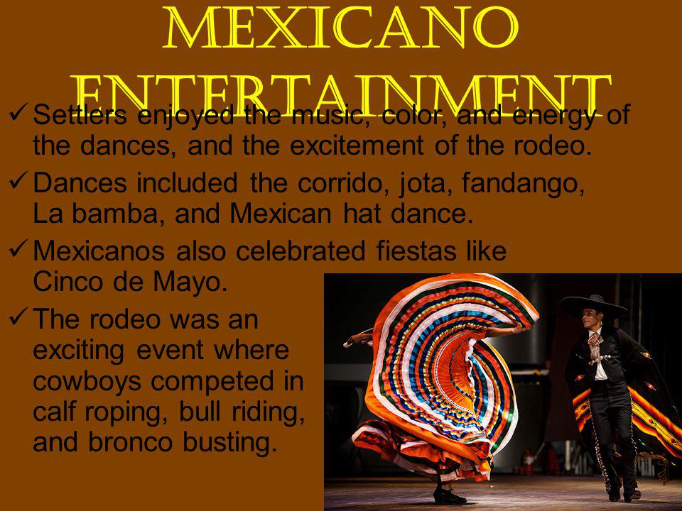 Mexicano Entertainment Settlers enjoyed the music, color, and energy of the dances, and the excitement of the rodeo.