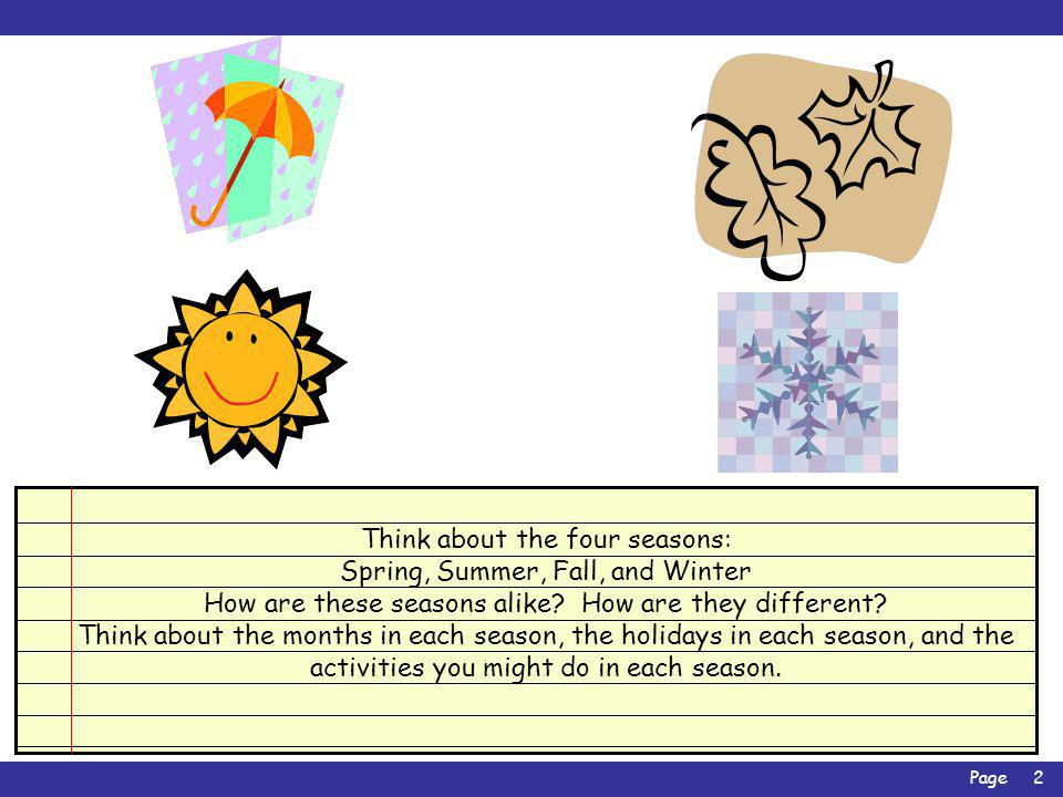 Page3 Now watch as we compare two seasons: Fall and Spring Click on each fact to see where it belongs in the Venn Diagram.