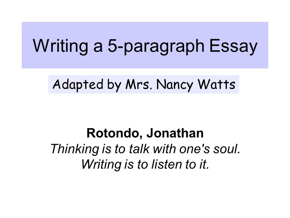 When writing an essay: 1) Read the information about the essay.