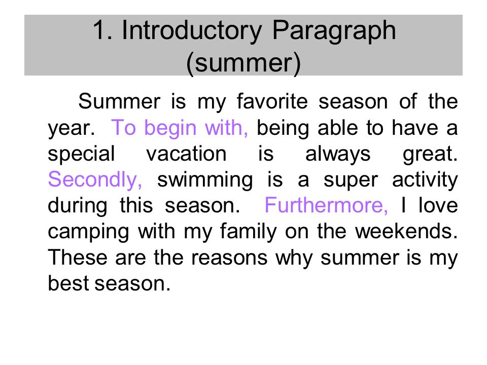 writing a paragraph essay rotondo jonathan thinking is to talk  introductory paragraph summer summer is my favorite season of the year