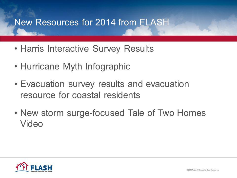 New Resources for 2014 from FLASH Harris Interactive Survey Results Hurricane Myth Infographic Evacuation survey results and evacuation resource for coastal residents New storm surge-focused Tale of Two Homes Video