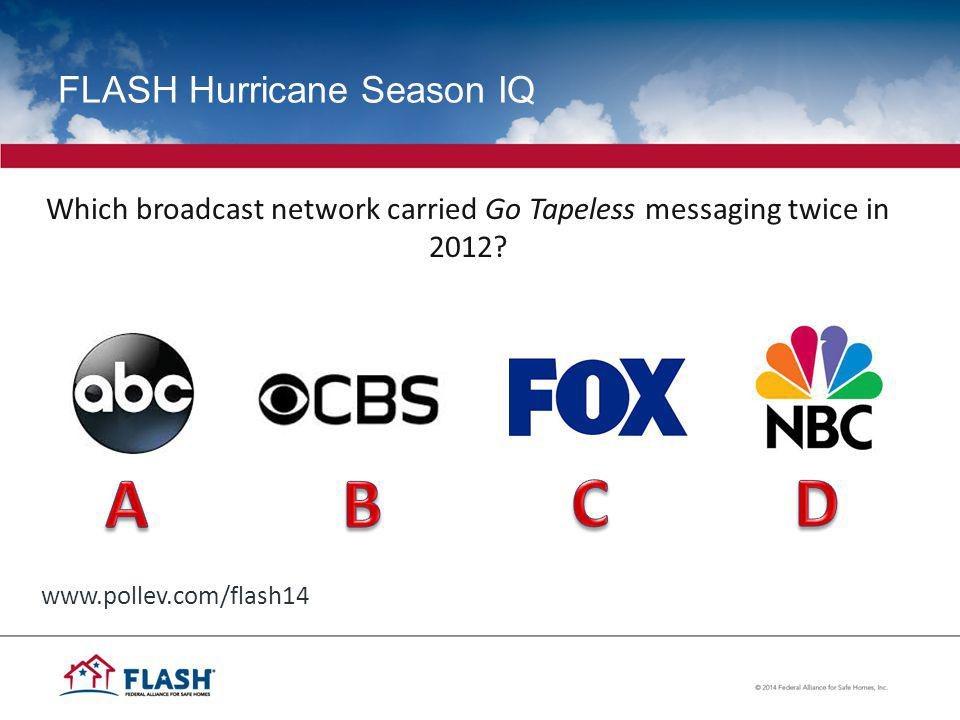 FLASH Hurricane Season IQ Which broadcast network carried Go Tapeless messaging twice in 2012.