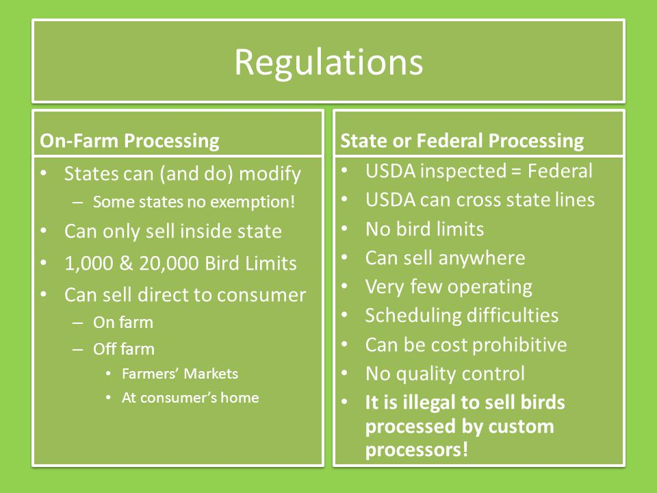 Regulations On-Farm Processing States can (and do) modify – Some states no exemption.