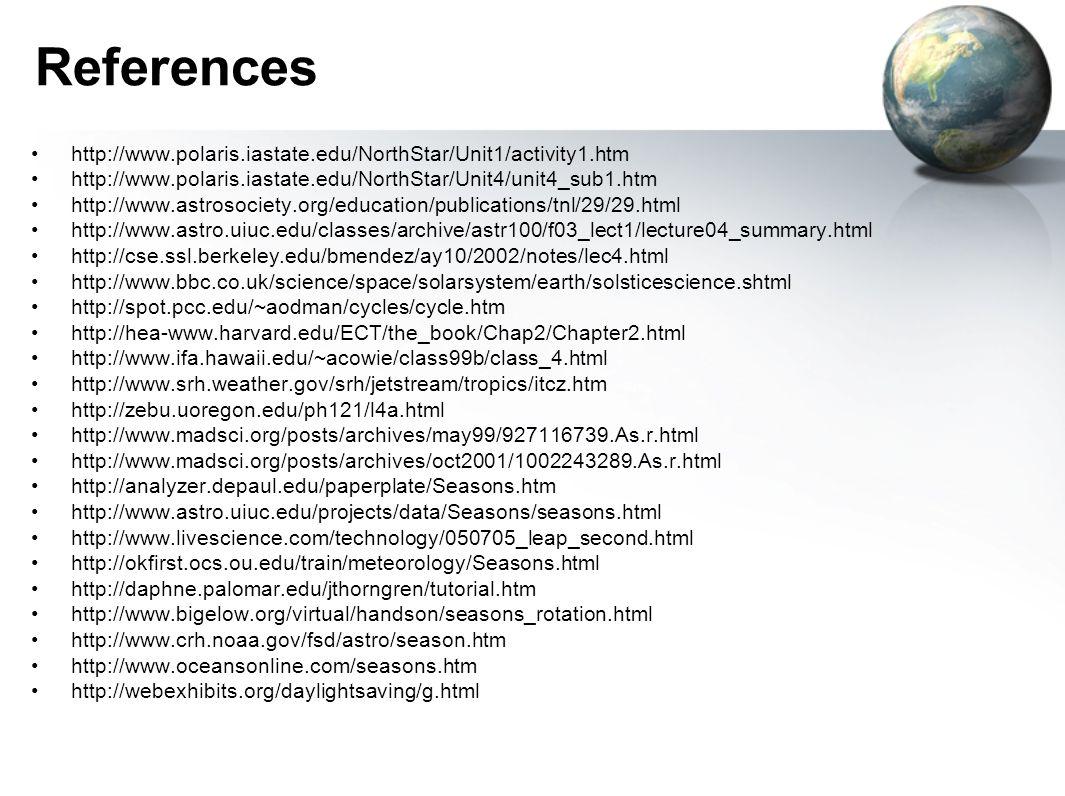 References http://www.polaris.iastate.edu/NorthStar/Unit1/activity1.htm http://www.polaris.iastate.edu/NorthStar/Unit4/unit4_sub1.htm http://www.astro