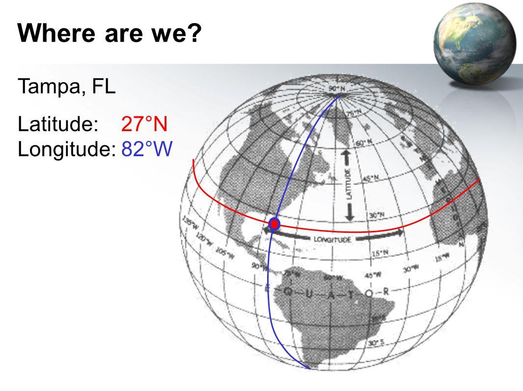 Where are we? Tampa, FL Latitude: 27°N Longitude: 82°W