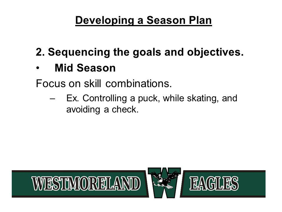 Developing a Season Plan 2. Sequencing the goals and objectives.