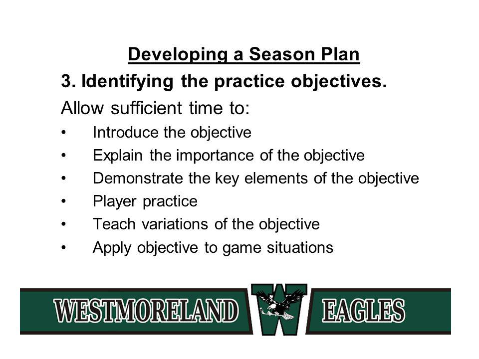Developing a Season Plan 3. Identifying the practice objectives.