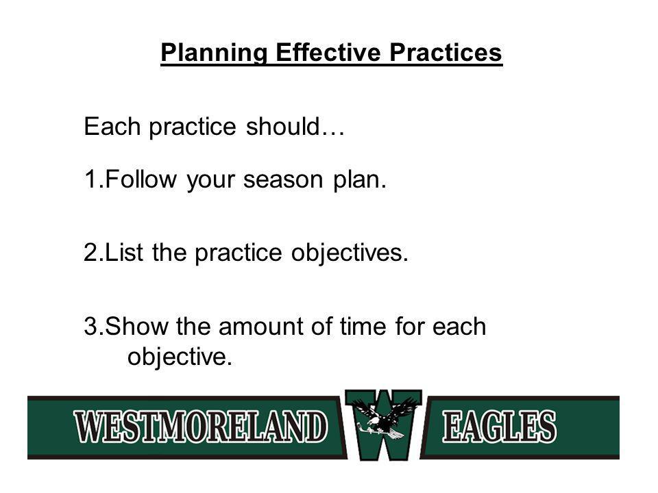Planning Effective Practices Each practice should… 1.Follow your season plan.