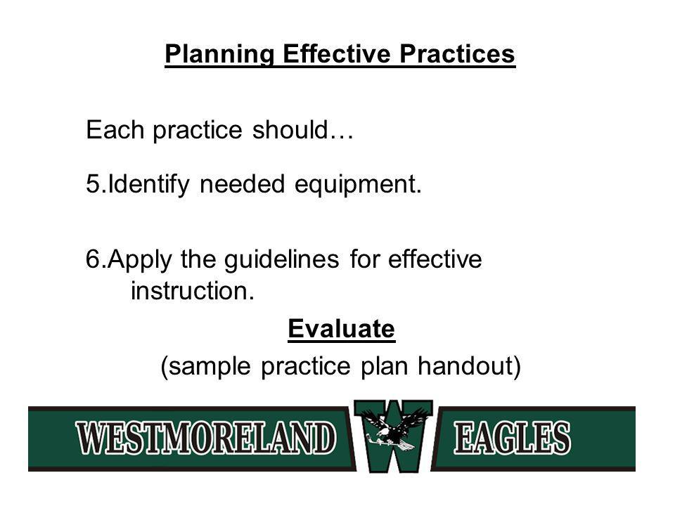 Planning Effective Practices Each practice should… 5.Identify needed equipment.
