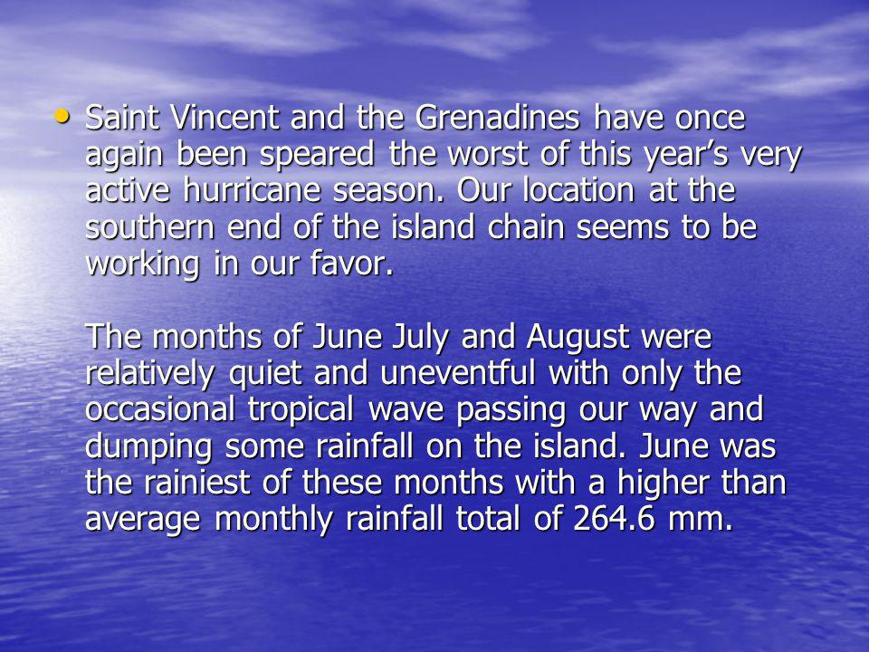 Saint Vincent and the Grenadines have once again been speared the worst of this years very active hurricane season. Our location at the southern end o