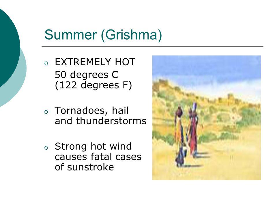Monsoon (Varsha) Brings relief from scorching heat.