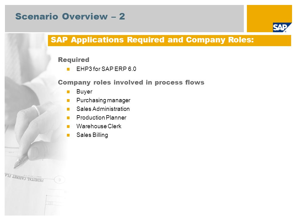 Scenario Overview – 2 Required EHP3 for SAP ERP 6.0 Company roles involved in process flows Buyer Purchasing manager Sales Administration Production P
