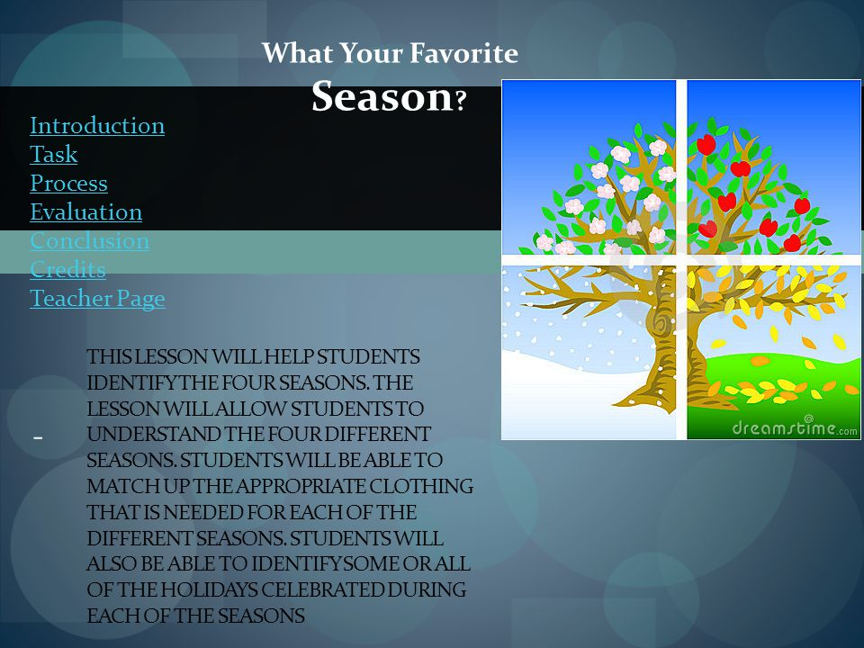 Task Everyone will be given the appropriate resources to reasearch online about the four seasons.