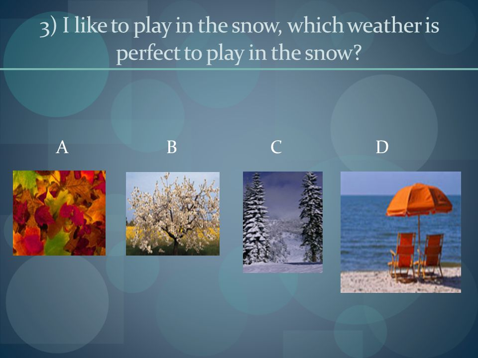 4) Which one of the pictures below do you think was taken in the summer time? A B C D