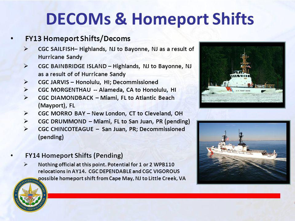 DECOMs & Homeport Shifts FY13 Homeport Shifts/Decoms CGC SAILFISH– Highlands, NJ to Bayonne, NJ as a result of Hurricane Sandy CGC BAINBRIDGE ISLAND – Highlands, NJ to Bayonne, NJ as a result of of Hurricane Sandy CGC JARVIS – Honolulu, HI; Decommissioned CGC MORGENTHAU -- Alameda, CA to Honolulu, HI CGC DIAMONDBACK – Miami, FL to Atlantic Beach (Mayport), FL CGC MORRO BAY – New London, CT to Cleveland, OH CGC DRUMMOND – Miami, FL to San Juan, PR (pending) CGC CHINCOTEAGUE – San Juan, PR; Decommissioned (pending) FY14 Homeport Shifts (Pending) Nothing official at this point.