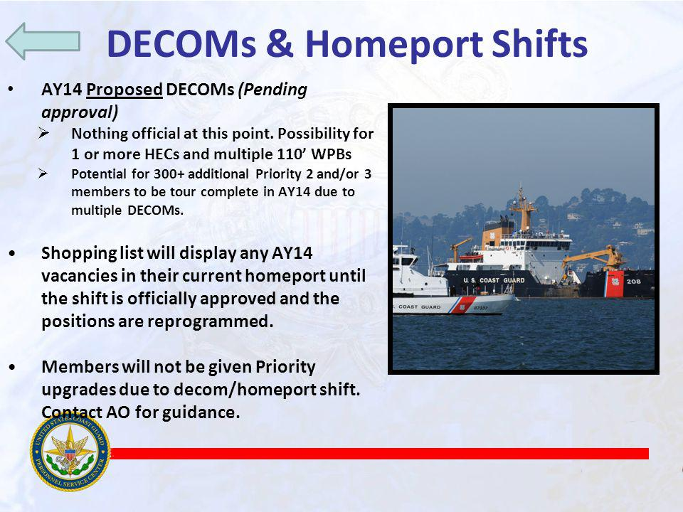 DECOMs & Homeport Shifts AY14 Proposed DECOMs (Pending approval) Nothing official at this point.
