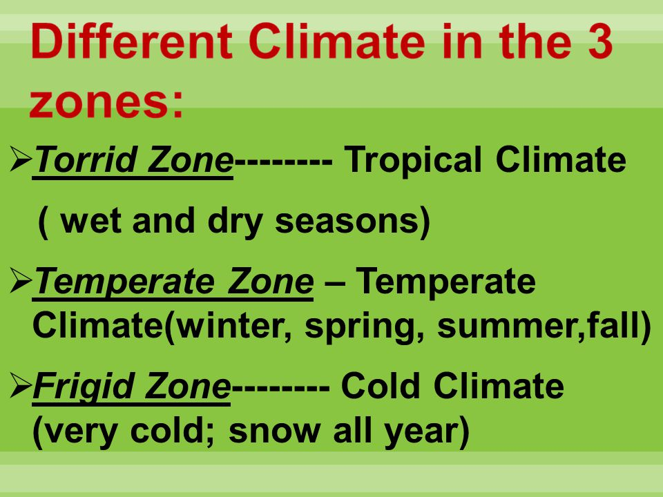 Torrid Zone-------- Tropical Climate ( wet and dry seasons) Temperate Zone – Temperate Climate(winter, spring, summer,fall) Frigid Zone-------- Cold C