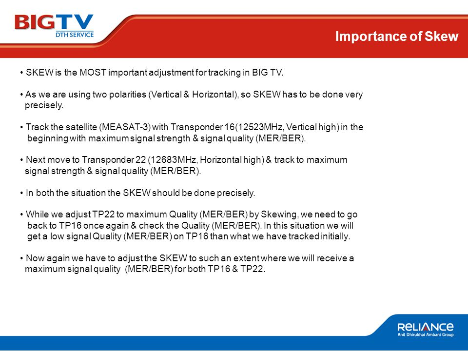 Importance of Skew SKEW is the MOST important adjustment for tracking in BIG TV.