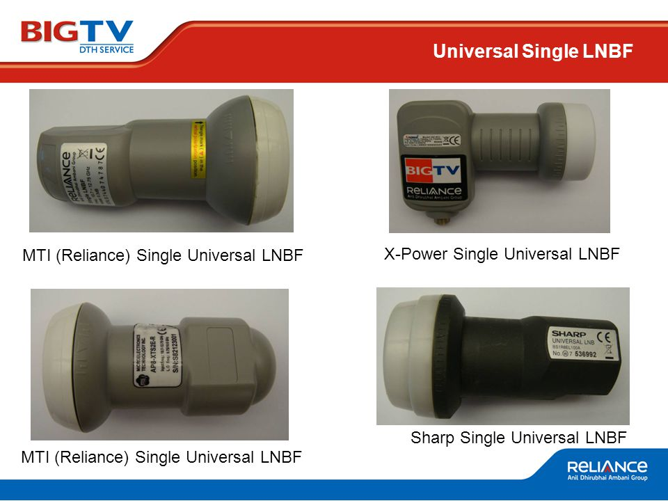 MTI (Reliance) Single Universal LNBF Sharp Single Universal LNBF Universal Single LNBF MTI (Reliance) Single Universal LNBF X-Power Single Universal LNBF