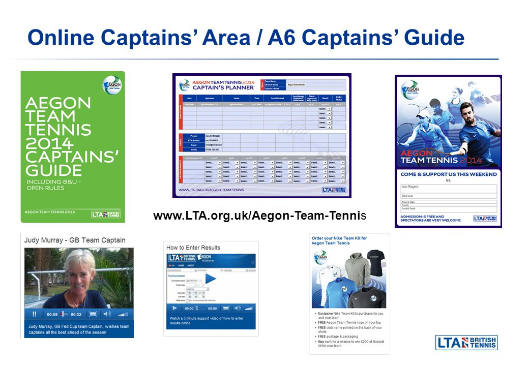 Online Captains Area / A6 Captains Guide www.LTA.org.uk/Aegon-Team-Tennis