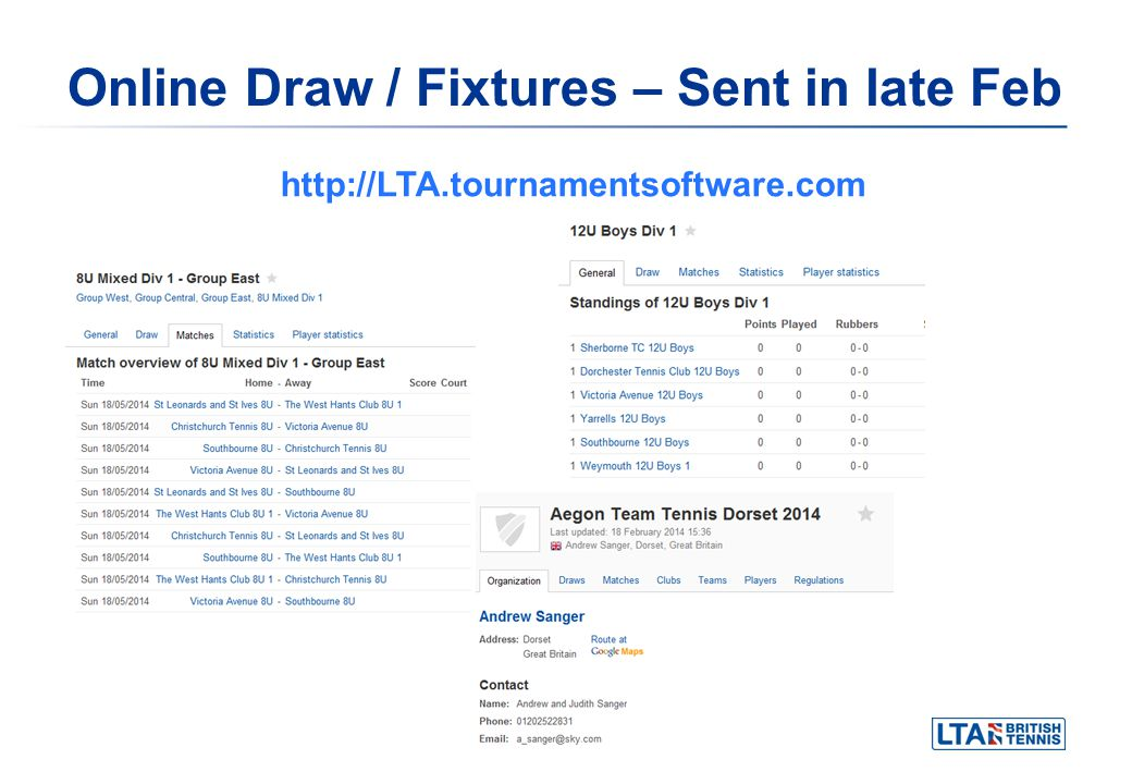 Online Draw / Fixtures – Sent in late Feb http://LTA.tournamentsoftware.com