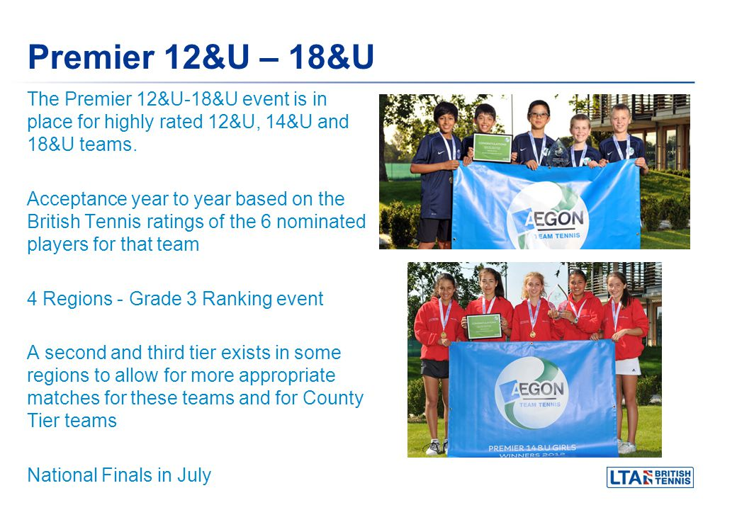 Premier 12&U – 18&U The Premier 12&U-18&U event is in place for highly rated 12&U, 14&U and 18&U teams. Acceptance year to year based on the British T