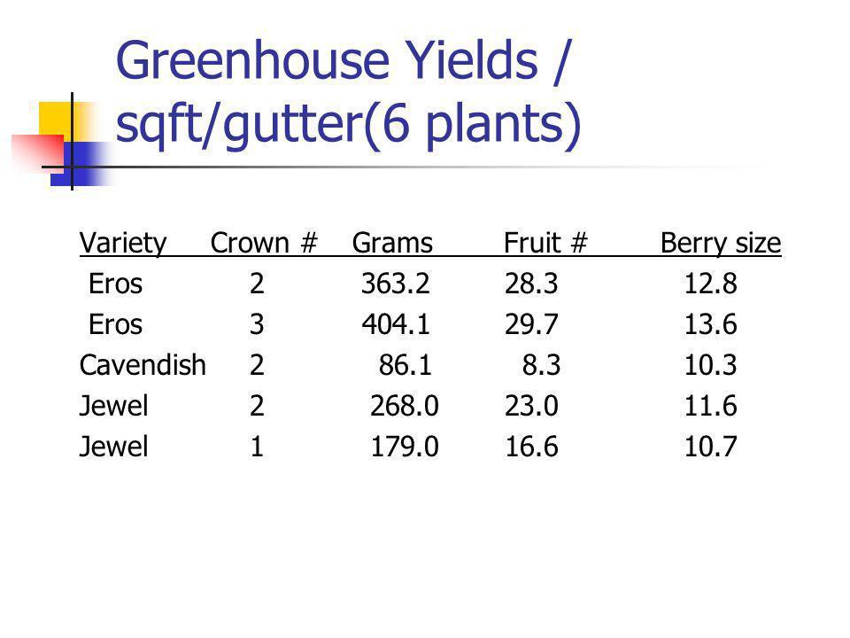 Greenhouse Yields / sqft/gutter(6 plants) Variety Crown # Grams Fruit # Berry size Eros2 363.2 28.3 12.8 Eros3 404.129.7 13.6 Cavendish2 86.1 8.3 10.3 Jewel2 268.023.0 11.6 Jewel1 179.016.6 10.7