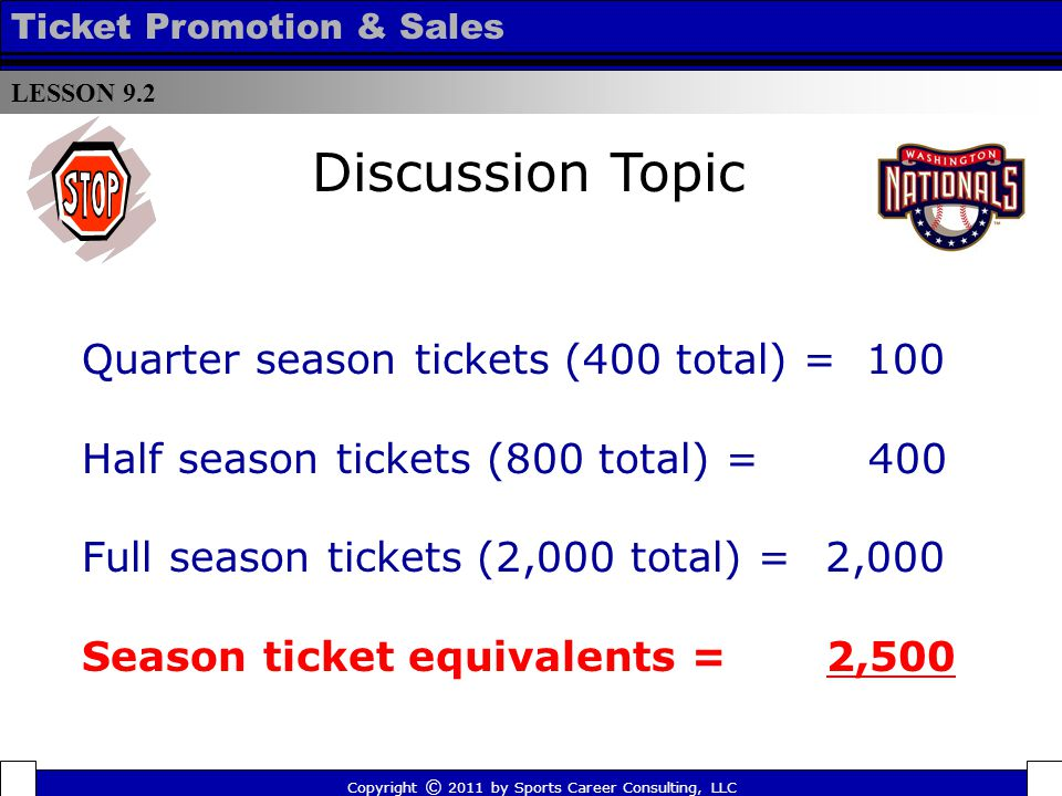 Quarter season tickets (400 total) = 100 Half season tickets (800 total) = 400 Full season tickets (2,000 total) =2,000 Season ticket equivalents = 2,500 LESSON 9.2 Ticket Promotion & Sales Copyright © 2011 by Sports Career Consulting, LLC Discussion Topic