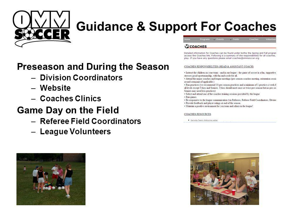 Guidance & Support For Coaches Preseason and During the Season –Division Coordinators –Website –Coaches Clinics Game Day on the Field –Referee Field Coordinators –League Volunteers