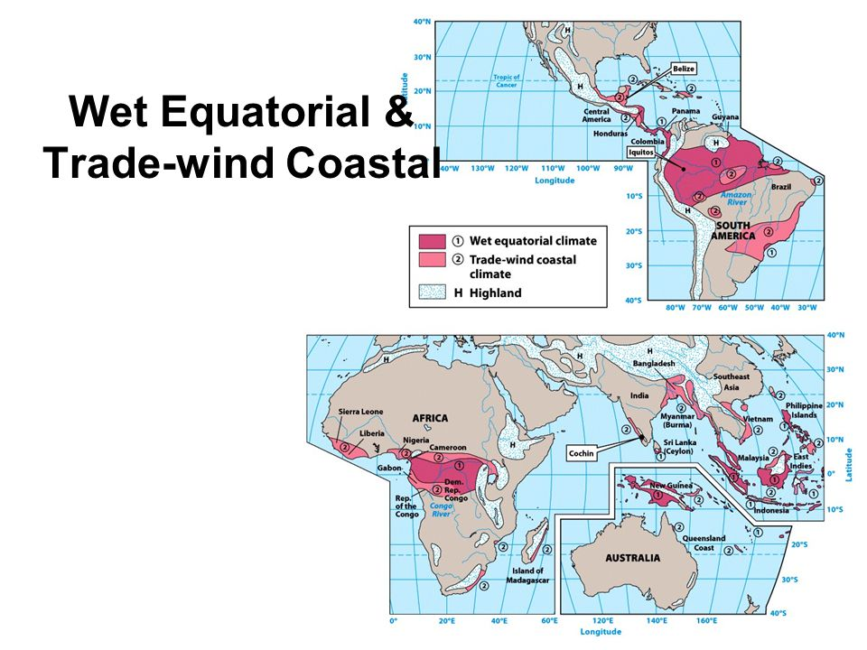 Wet Equatorial Climate Moist climate of the equatorial zone 10°N to 10°S Large annual water surplus Warm temps all year Dominated by ITCZ mE & mT air masses Annual rainfall can exceed 2500 mm Iquitos, Peru, 9°S