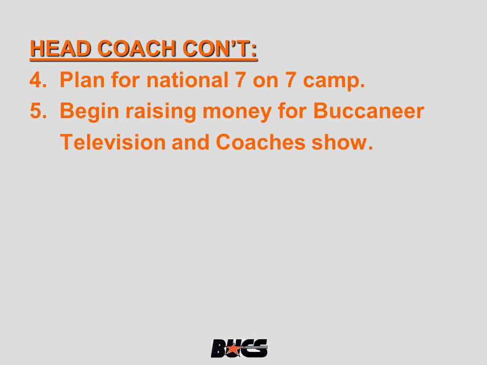 HEAD COACH CONT: 4. Plan for national 7 on 7 camp. 5. Begin raising money for Buccaneer Television and Coaches show.