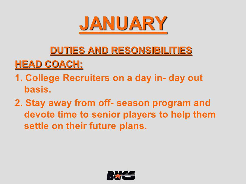HEAD COACH CONT: 4.Plan for national 7 on 7 camp.