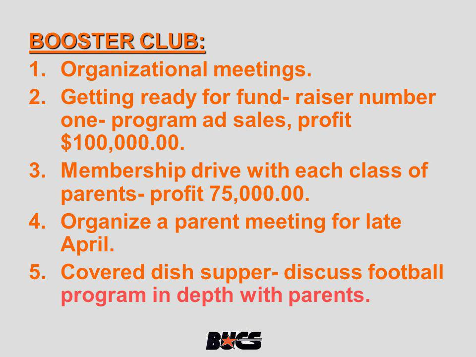 BOOSTER CLUB: 1.Organizational meetings. 2.Getting ready for fund- raiser number one- program ad sales, profit $100,000.00. 3.Membership drive with ea