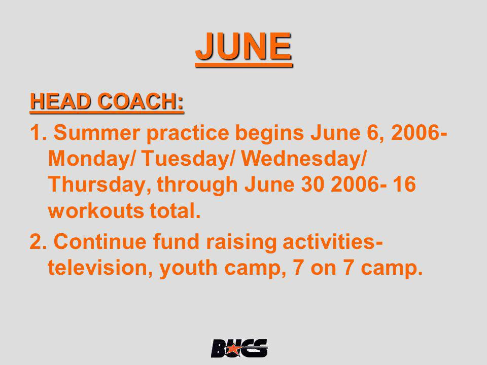JUNE HEAD COACH: 1. Summer practice begins June 6, 2006- Monday/ Tuesday/ Wednesday/ Thursday, through June 30 2006- 16 workouts total. 2. Continue fu