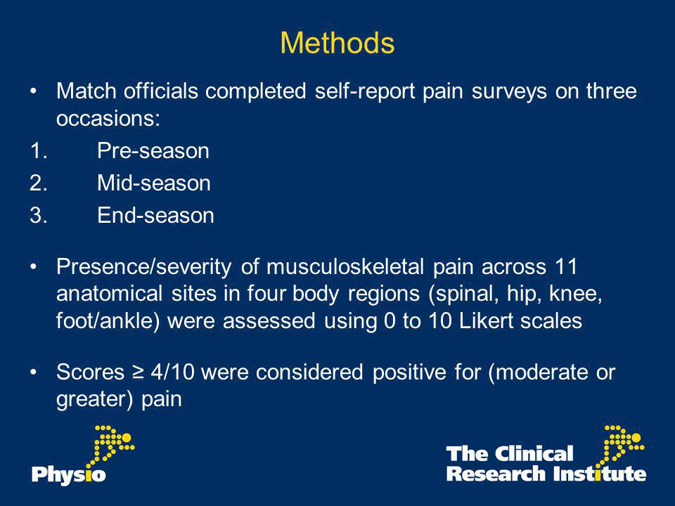 Results: Prevalence of musculoskeletal pain Pre-season, 40/45 referees (89%) reported pain at one site.