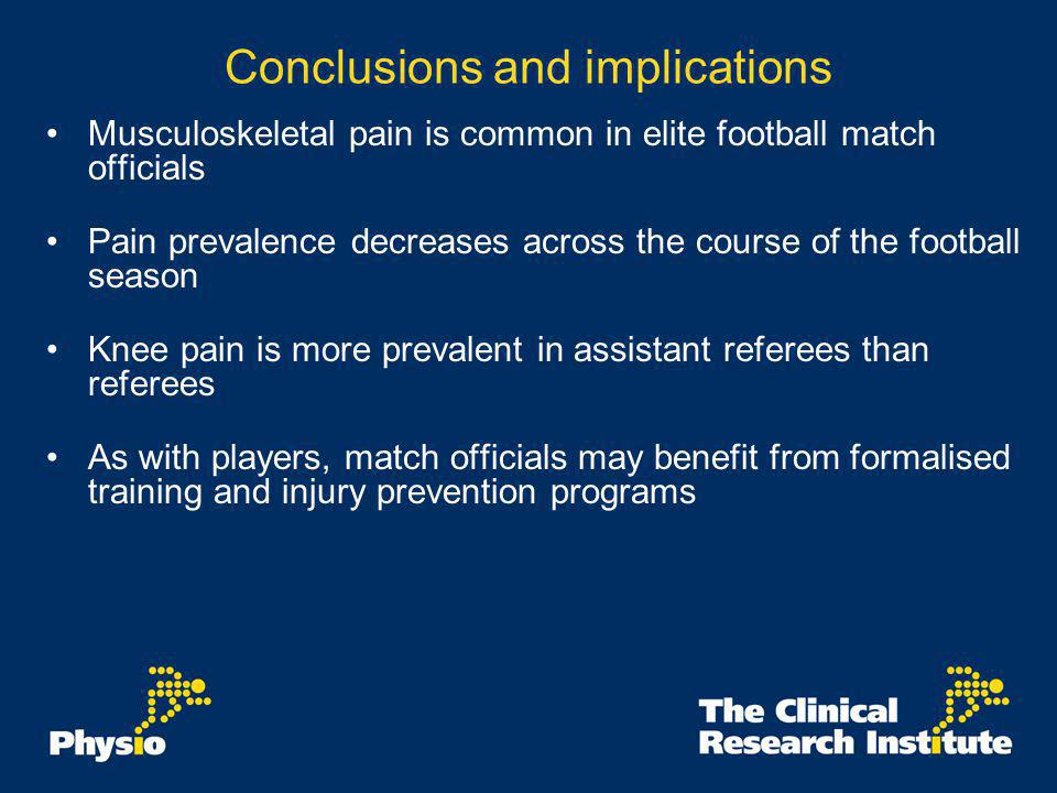 Conclusions and implications Musculoskeletal pain is common in elite football match officials Pain prevalence decreases across the course of the footb