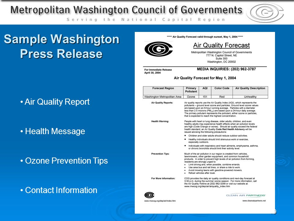 19 Sample Washington Press Release Air Quality Report Health Message Ozone Prevention Tips Contact Information