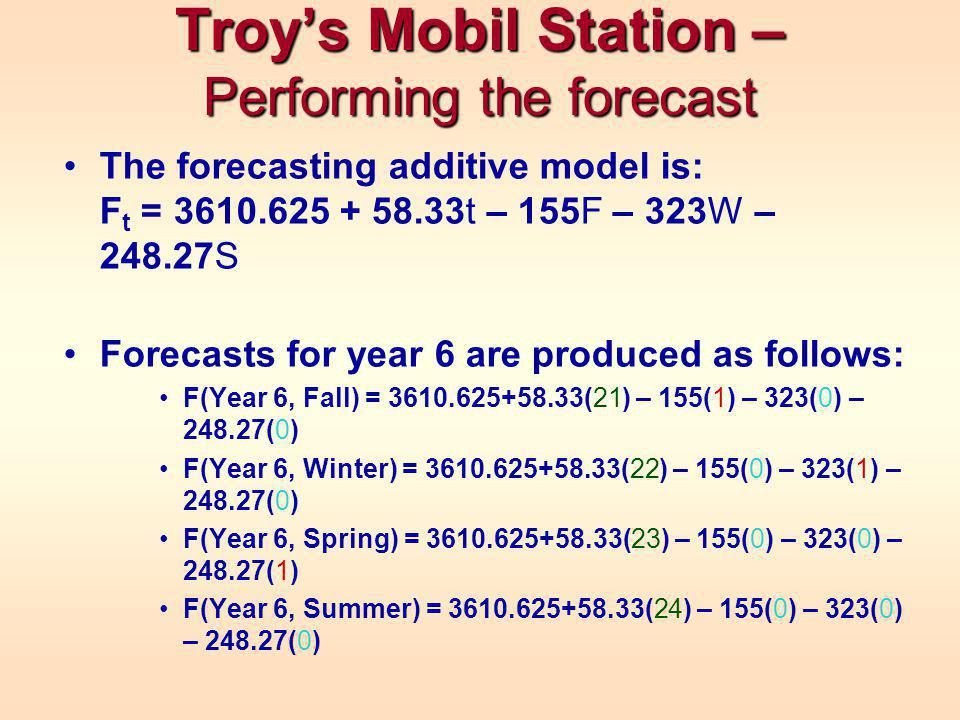 The forecasting additive model is: F t = 3610.625 + 58.33t – 155F – 323W – 248.27S Forecasts for year 6 are produced as follows: F(Year 6, Fall) = 3610.625+58.33(21) – 155(1) – 323(0) – 248.27(0) F(Year 6, Winter) = 3610.625+58.33(22) – 155(0) – 323(1) – 248.27(0) F(Year 6, Spring) = 3610.625+58.33(23) – 155(0) – 323(0) – 248.27(1) F(Year 6, Summer) = 3610.625+58.33(24) – 155(0) – 323(0) – 248.27(0) Troys Mobil Station – Performing the forecast